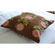 Crewel Pillow Sham Sunflower Vine Cocoa Euro (26x26)