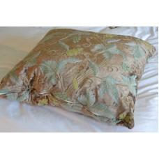 Crewel Pillow Grapevine Olive Cotton Viscose Velvet Euro Sham (2