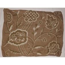 Crewel Pillow Sham Lotus White and Green on Natural Brown Jute (