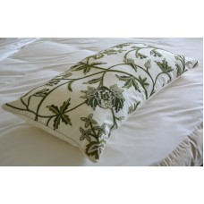 Crewel Pillow Sham Leaves Green on White Cotton King Sham (20x36