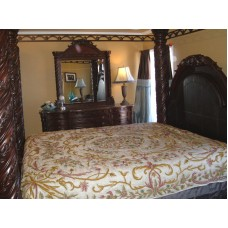 Crewel Pillow King Shams Art Nouveau Peach Puff Silk Organza (20