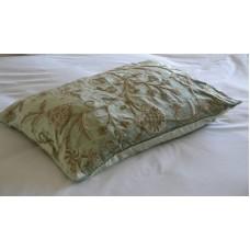 Crewel Pillow Sham Tree of Life Neutrals on Bright Pistachio Gre