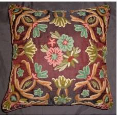 Crewel Pillow Art Nouveau Vermillion Silk Organza (20x26)