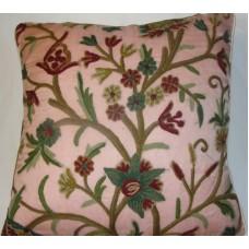 Crewel Pillow Tree of Life Rose Pink Silk Organza (20x20)
