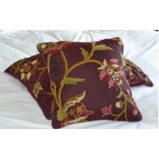 Crewel Pillow Sham Wild Flower Vermilion Silk Organza (16x16)