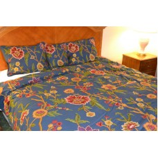 Crewel Bedding Shalimar Royal Blue Cotton Crewel Duvet Cover