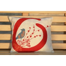 Crewel Pillow Birdie in nest Red on White Cotton Duck