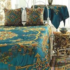 Crewel Bedding Art Nouveau Turquoise Cotton Viscose Velvet King