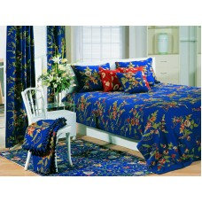 Crewel Bedding Random Flowers Royal Blue Cotton Queen
