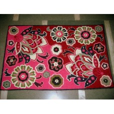 Crewel Rug Dramatic Pink Chain Stitched Wool Rug