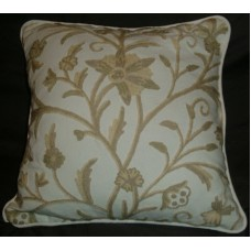 Crewel Pillow Tree of Life Neutrals on OffWhite Cotton-17x17