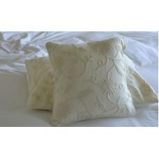 Crewel Pillow Sham Floral Vine White on White Cotton Duck Standard