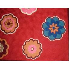 Crewel Rug Dashi Burgundy Chain Stitched Wool Rug (4x6FT)