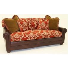 Crewel Bloom Passion Red cotton Velvet Upholstered Sofa