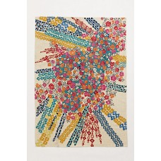 Crewel Rug Confetti Flora Multi Chain Stitched Wool Rug