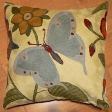 Crewel Pillow Butterfly Cream Cotton Duck