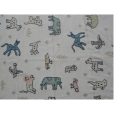 Crewel Fabric Circus in the Jungle Natural White Cotton Duck