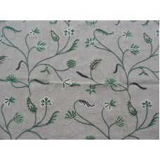 Crewel Fabric Dancing Vines Green on Grey Cotton Duck