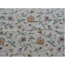 Crewel Fabric Dar Flower Natural White Jute