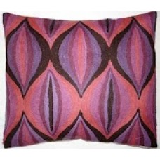 Crewel Pillow Air balloons Pinks and Purples Cotton Duck