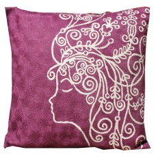 Crewel Pillow Amelia white on purple Cotton Duck