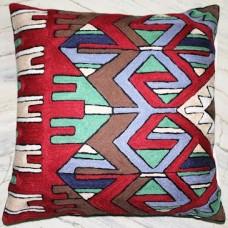 Crewel Pillow Arrows Red Cotton Duck