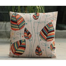 Crewel Pillow BAnyan Leaves Multi Cotton Duck