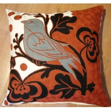 Crewel Pillow Birdie in the wild Red Cotton Duck