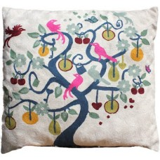 Crewel Pillow Birdies on branches Multi Cotton Duck