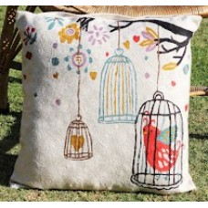 Crewel Pillow Bird in the Cage White Cotton Duck