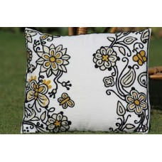 Crewel Pillow Blossoms & Butterflies Black on WHite Cotton Duck