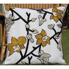 Crewel Pillow Blossoms in woods Yellow on White Cotton Duck