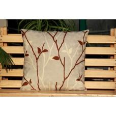 Crewel Pillow Branches of Autmn Brown Cotton Duck