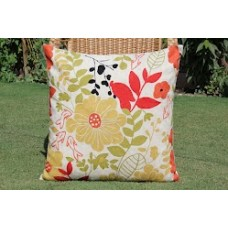 Crewel Pillow Bright Flora Red Cotton Duck