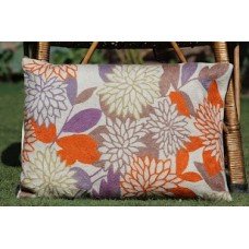 Crewel Pillow Bright Petals Multi Cotton Duck