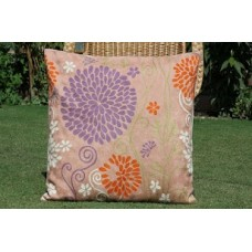 Crewel Pillow Bright Tara Rust Cotton Duck