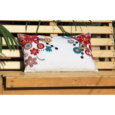 Crewel Pillow Bright on white Multi color on White cotton Duck