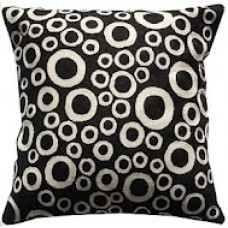 Crewel Pillow Bubbles White on black Cotton Duck