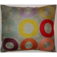 Crewel Pillow Bubbles of joy Multi Cotton Duck