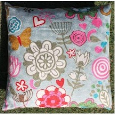 Crewel Pillow Bushes and Butterfly Pinks on Blue Cotton Duck