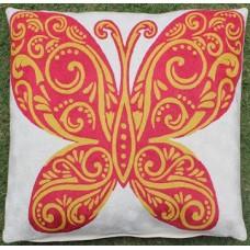 Crewel Pillow Butterfly Orange Cotton Duck