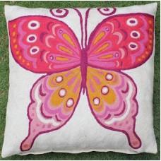 Crewel Pillow Butterfly Pink Cotton Duck