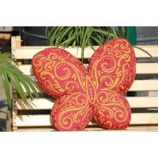 Crewel Pillow Butterfly Yellows on Red Cotton Duck