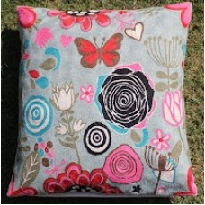 Crewel Pillow Butterfly in Bushes Pinks on Blue Cotton Duck