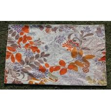 Crewel Rug Autumn Leaves Orange Chain Stitched Wool Rug