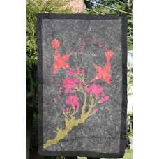 Crewel Rug Birds on Branches Red and Pinks on Grey Chain Stitched Wool Rug