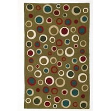 Crewel Rug Bubbles Multicolor on Khaki Chain Stitched Wool Rug