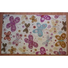 Crewel Rug Butterflies Pinks and Blues on White Chain Stitched Wool Rug