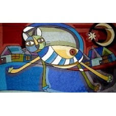 Crewel Rug Crazy Cat Blue Chain Stitched Wool Rug