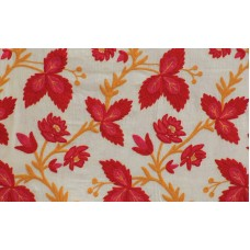 Crewel Rug Euphorbia Reds Chain Stitched Wool Rug